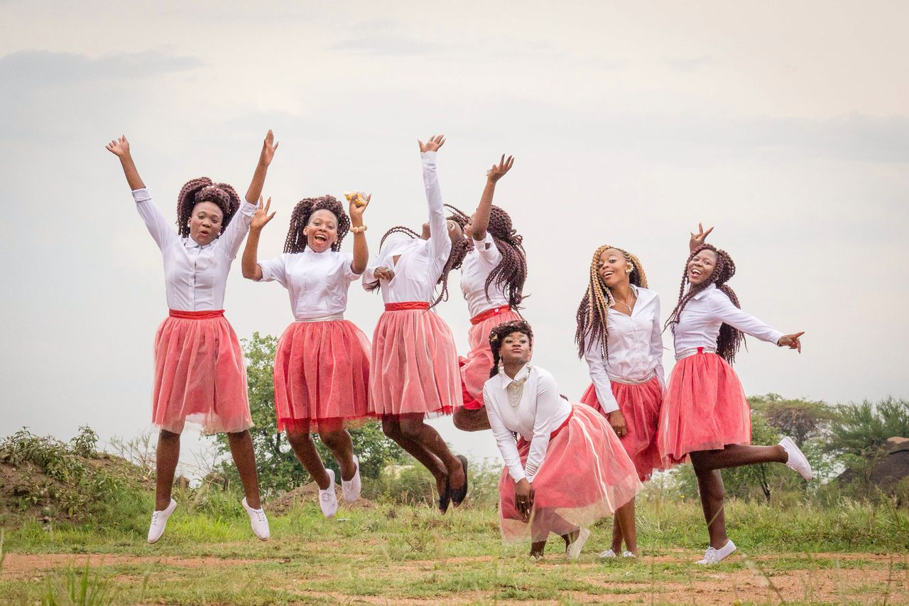 Wedding Expos Africa - Ecstatic Bridal team celebrating during their friends wedding