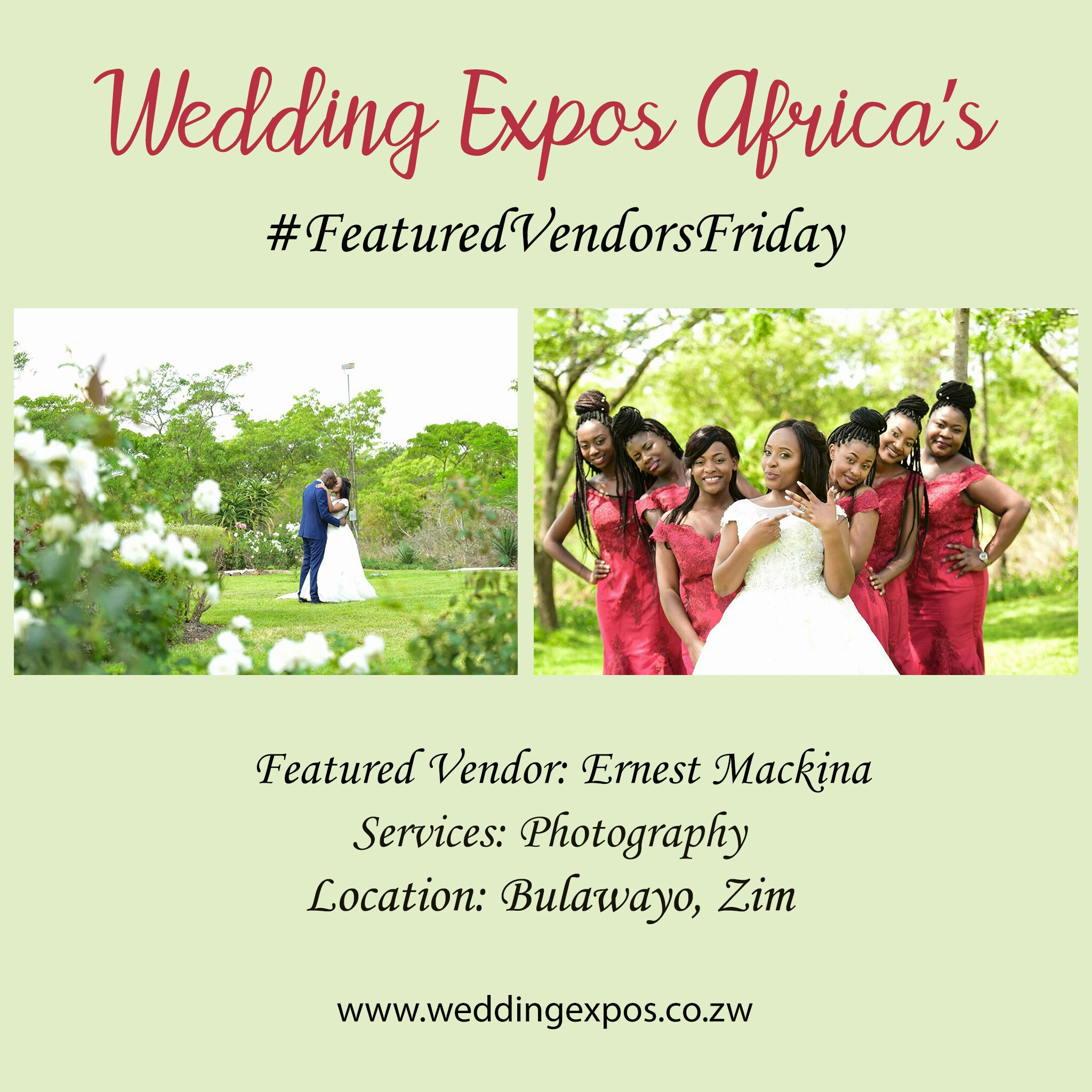 Ernest Mackina Photography is a wedding vendor in Bulawayo Zimbabwe. He was featured on wedding expos africa's featured vendors friday