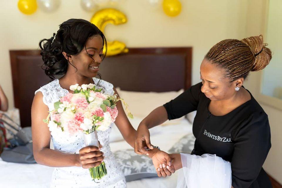 Events By Zar dressing a Zimbabwean bride - Zimbabwe wedding planners - Harare wedding planners - Zimbabwe weddings